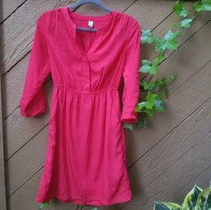 Old Navy 3/4 sleeve Shirt Dress bright red Sz XS
